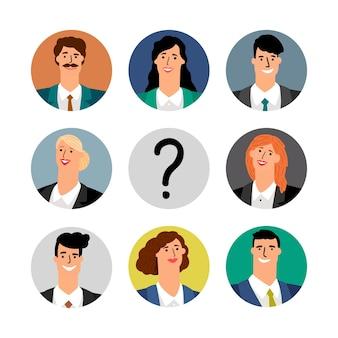 採用コンセプト。ビジネスチームのアバター、笑顔の女性と男性。