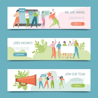 Hiring  illustration. job vacancy banner concept. employer hire for work. hired people offer to join the team.