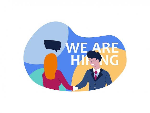 Hiring illustration with chat bubble vector isolated