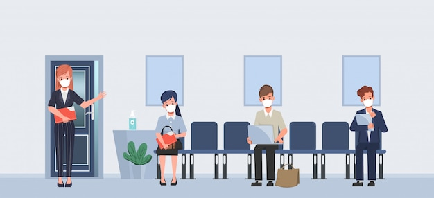 新しい通常のライフスタイルでフェイスマスクを着て仕事の概念を採用。就職面接ビジネス人材。