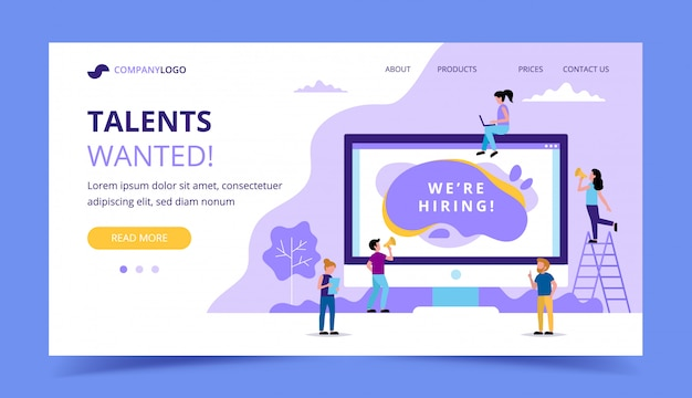 Hiring landing page. concept illustrations for human resources