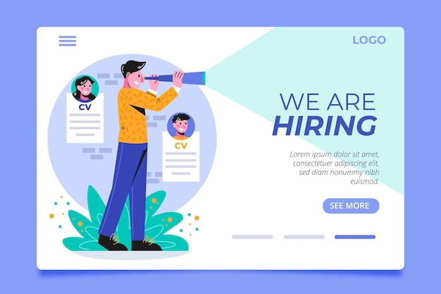 Hiring landing page template with man illustrated