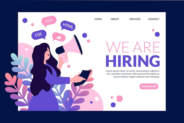 Hiring landing page template with woman illustrated