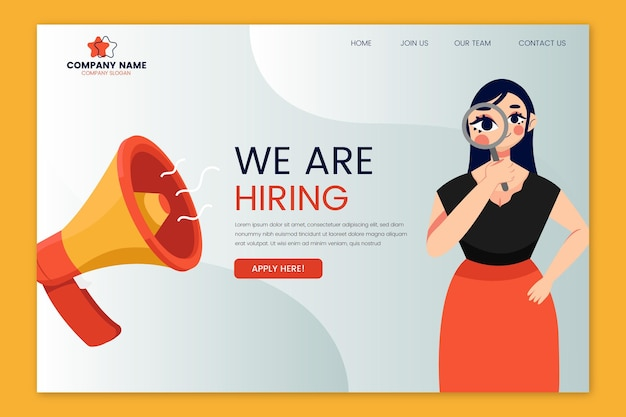 Hiring landing page with woman illustrated