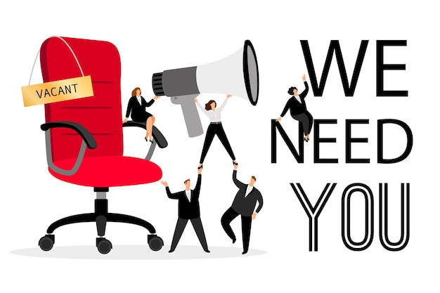 Аренда офисного стула. наем рекламы с людьми, которые хотят сотрудников, креативная концепция для бизнес-сообщения о корпоративной вакансии