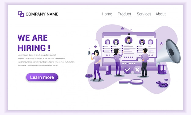 Hiring and online recruitment landing page.