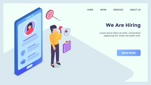 Hiring people on mobile device concept for website template landing homepage with modern isometric flat