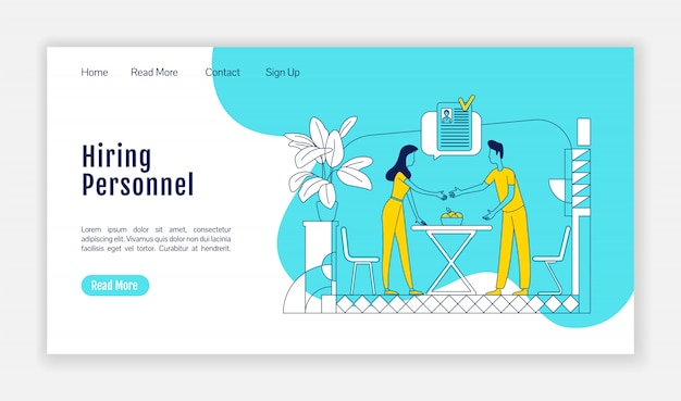 Hiring personnel landing page flat silhouette vector template. headhunting homepage layout. hr management one page website interface with cartoon outline character. staff selection landing page