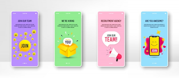 Hiring and recruitment banner on the phone screen.
