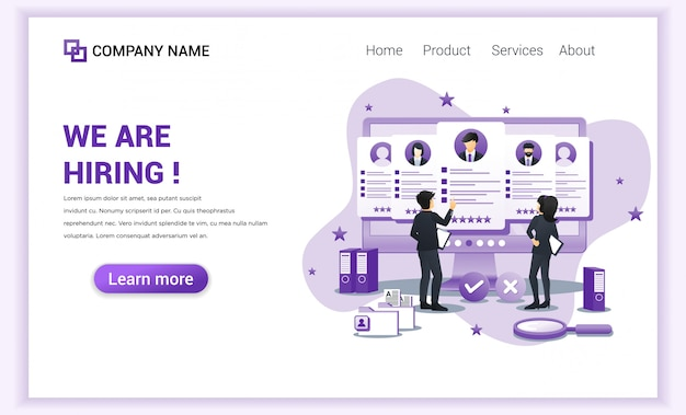 Hiring and recruitment  landing page