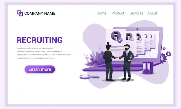 Hiring or recruitment landing page.