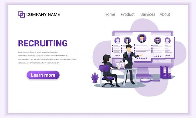 Hiring or recruitment landing page.