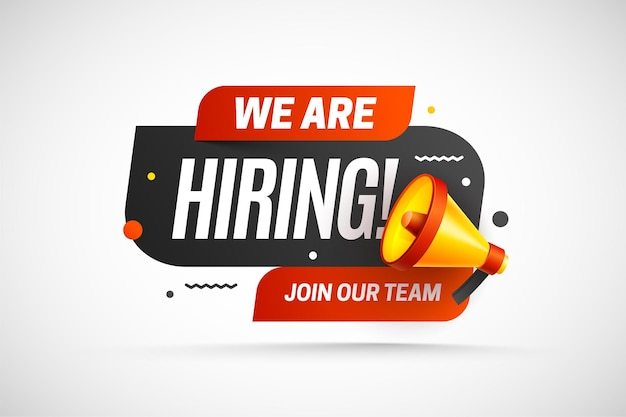 Hiring recruitment open vacancy design info label template we are hiring join our team announcement