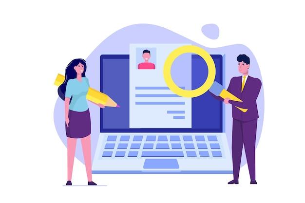 온라인으로 직원을 고용하는 고용 선택 이력서 프로세스 개념