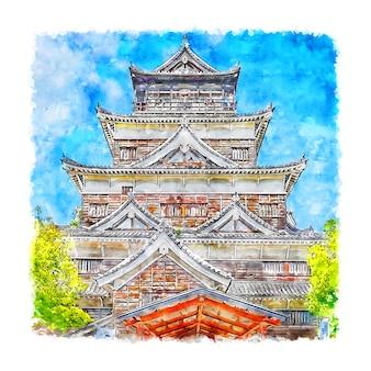 히로시마 성 일본 수채화 손으로 그린 그림
