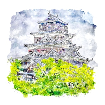 Замок хиросима япония акварельный эскиз рисованной иллюстрации