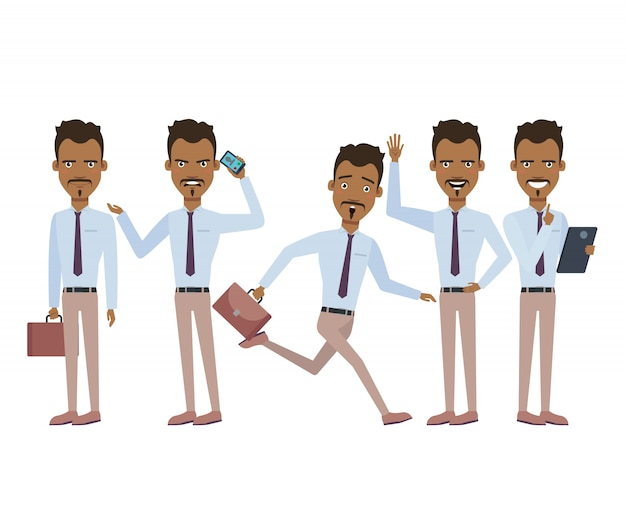 Испаноязычный бизнесмен в спешке набор персонажей с разными позами