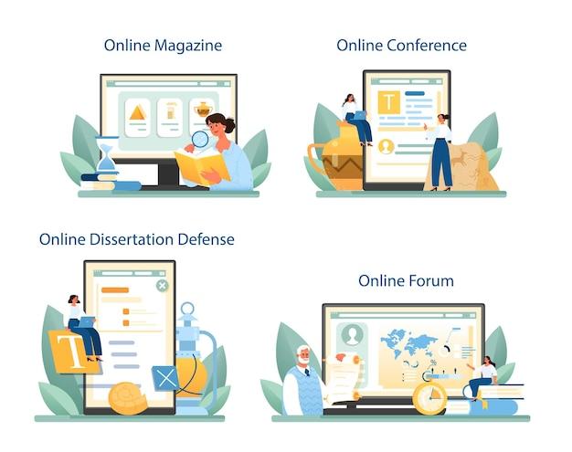 역사가 온라인 서비스 또는 플랫폼 세트. 역사과학, 고생물학