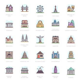Historic buildings flat icons