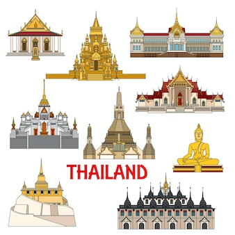 Historic sightseeings and architecture buildings of thailand palaces