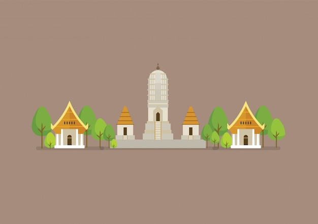 Historical ancient white temple illustration
