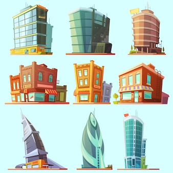 역사와 현대적인 건물 일러스트