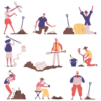 Historical artefacts archaeology excavation archaeologists characters workflow. archaeology treasure researching vector illustration set. archaeologists at work