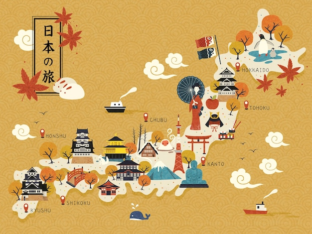 Historical landmarks on the map illustration