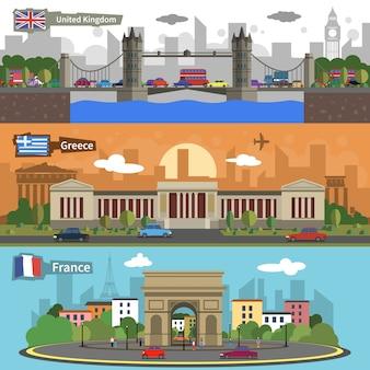 Historical landmarks skyline banners set