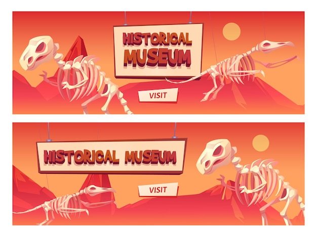 Historical museum cartoon web banner with dinosaur skeletons and visit button.