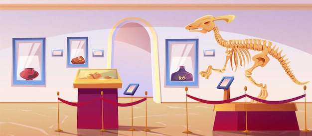 Historical museum interior with dinosaur skeleton