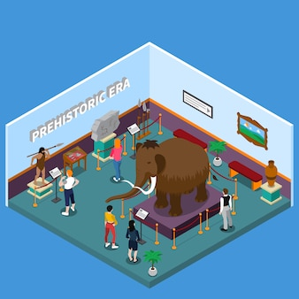 Historical museum isometric illustration