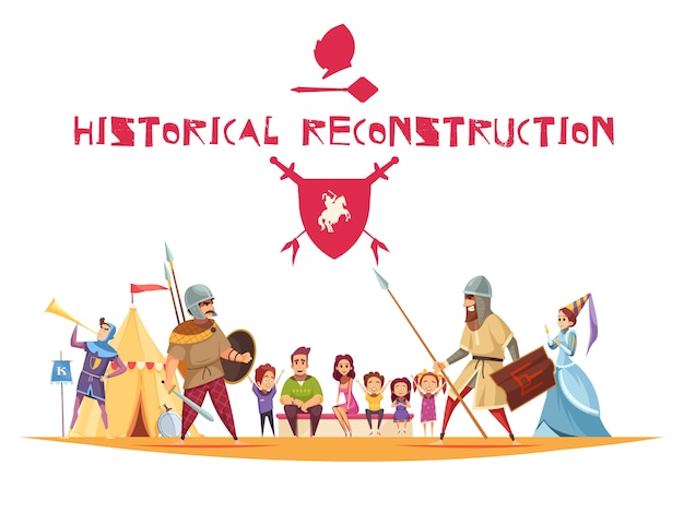 Historical reconstruction concept with ancient warriors and weapons flat