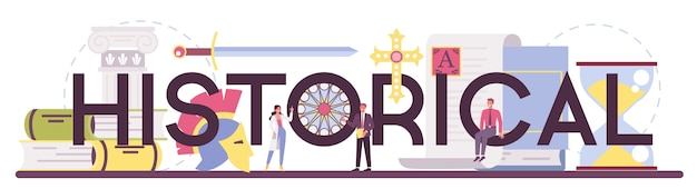 Historical typographic header illustration in flat style