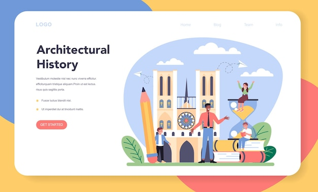 History of art school education web banner or landing page
