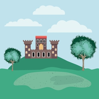 History castle in the landscape scene