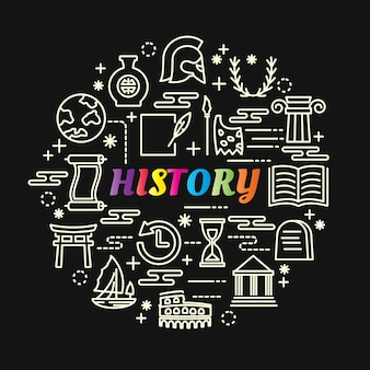 History colorful gradient with line icons set