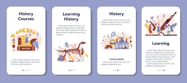 Набор баннеров мобильного приложения концепции истории. школьный предмет истории. идея науки и образования. знание прошлого и древности. отдельные векторные иллюстрации в плоском стиле