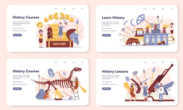 Набор исторической концепции веб-баннера или целевой страницы