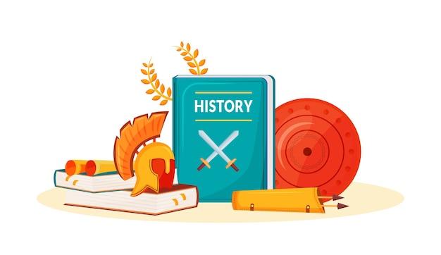 역사 평면 개념 그림입니다. 학교 과목. 역사 책. 인문 과학은 유. 대학 과정. 학생 교과서 및 고대 항목 2d 만화 개체