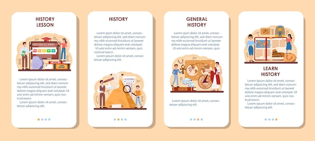 History lesson mobile application banner set. history school subject