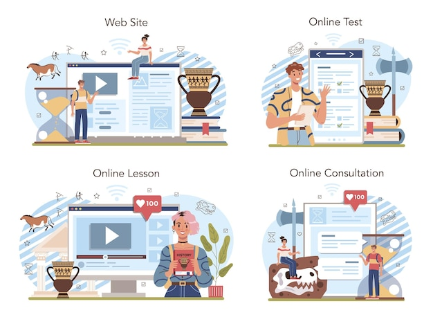 History lesson online service or platform set history school subject