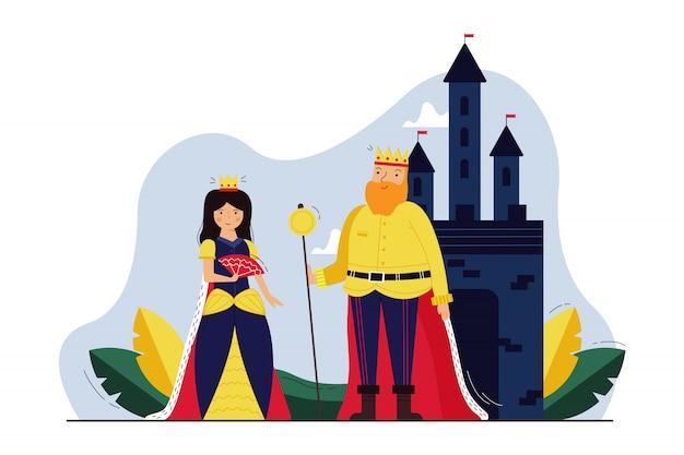 歴史、君主制、コスプレ、演劇のコンセプト。ティアラと老人の王の王冠と王冠の王冠の文字が城の近くに一緒に立っている若い女性の女王。歴史的出来事の再現