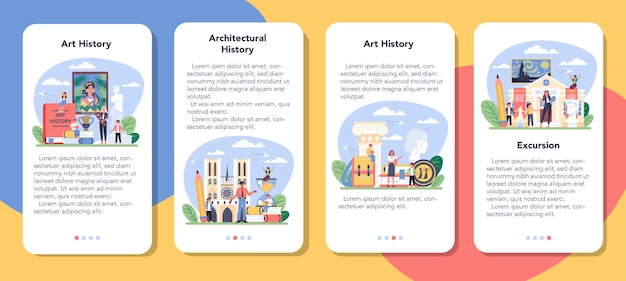 미술 학교 교육 모바일 응용 프로그램 배너 세트의 역사