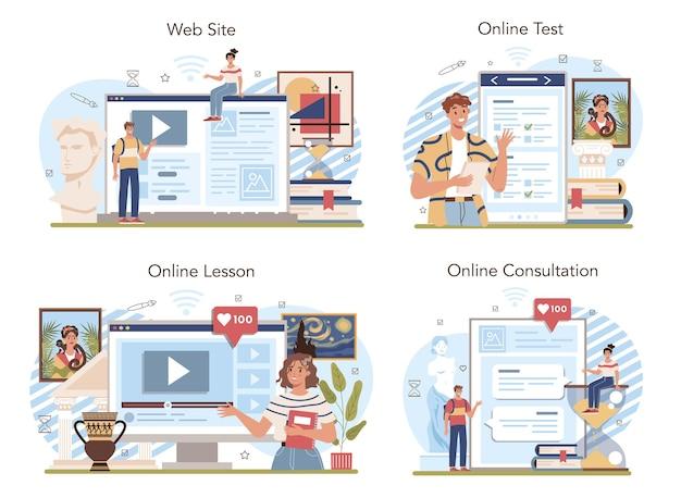 미술 학교 교육 온라인 서비스 또는 플랫폼 세트의 역사. 회화, 조각, 건축의 역사를 공부하는 학생. 온라인 수업, 시험, 상담, 웹사이트. 평면 벡터 일러스트 레이 션