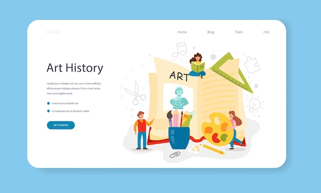 История образования художественной школы, веб-баннер или целевая страница, изучающая учащийся