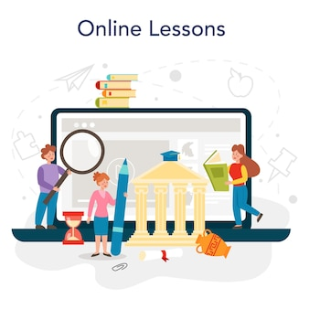 History online service or platform. history school subject. idea of science and education. knowledge of past and ancient times. online lesson. flat vector illustration