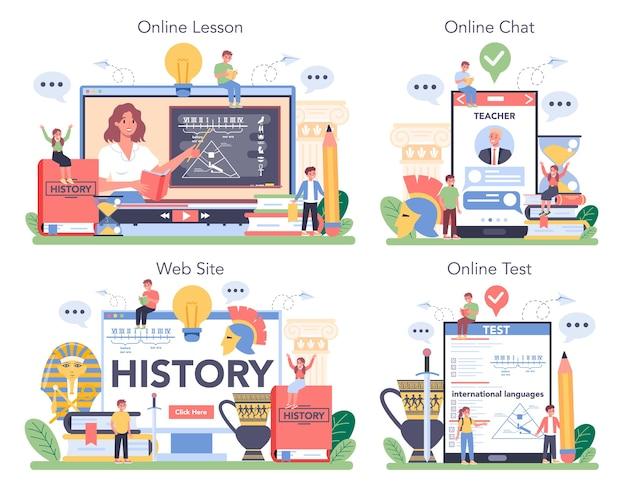 History online service or platform set illustration