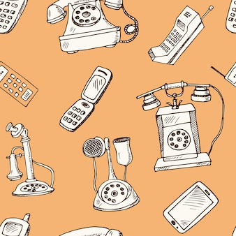 History of phones hand drawn doodle seamless pattern