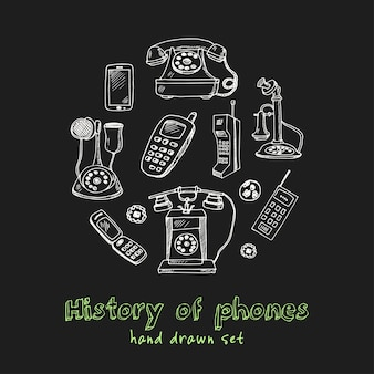History of phones hand drawn doodle set